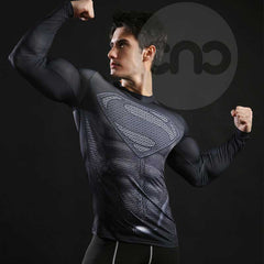 Image of Superhero Superman's 2013-Man of Steel Black Compression Long Sleeve