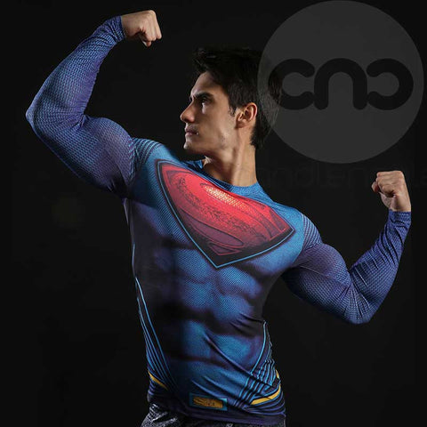 Superman Blue Compression Long Sleeve