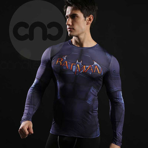 Superhero Batman Text 3D Compression Long Sleeves