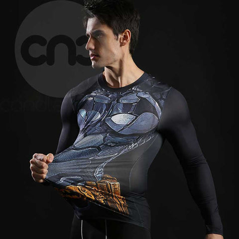 Superhero Batman 3D Printed Compression Long Sleeves