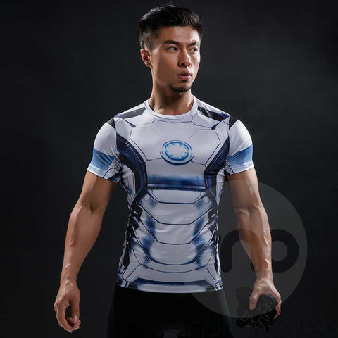 Superhero Iron Man white 3D Printed Compression shirt