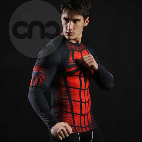 Superhero Spiderman Red 3D Compression Long Sleeves
