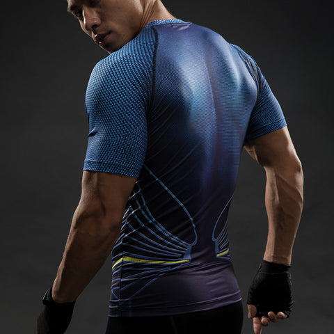 Superman Blue 3D-Printed Compression Short Sleeve