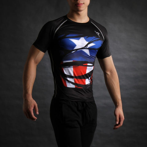 Superhero Captain America Ripped USO Soldier Compression Shirt
