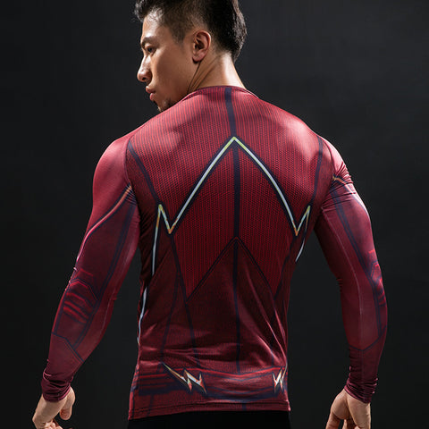 Flash Red 3D Printed Compression Long Sleeve