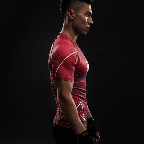 Flash Red 3D Printed Compression Short Sleeve