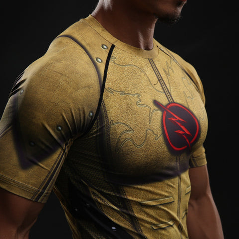 Flash Gold 3D Printed Compression Short Sleeve