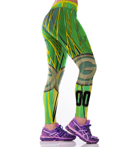 LIMITED EDITION Citrusy Green Bay Football Sports Leggings