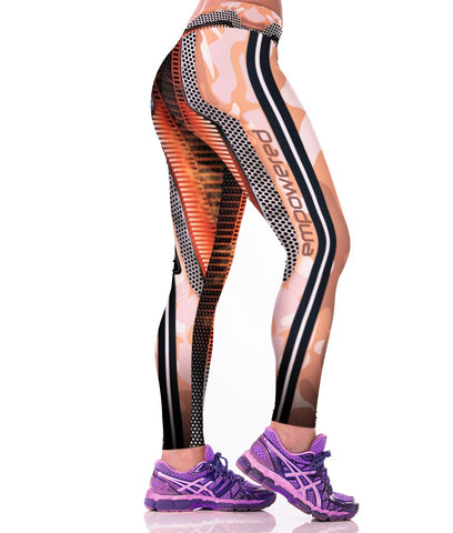 Empowered Orange Camo Leggings for Women
