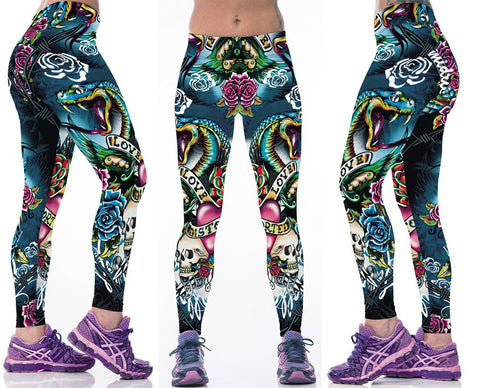 Ed Hardy-inspired Skulls and Roses Sport Leggings for Women