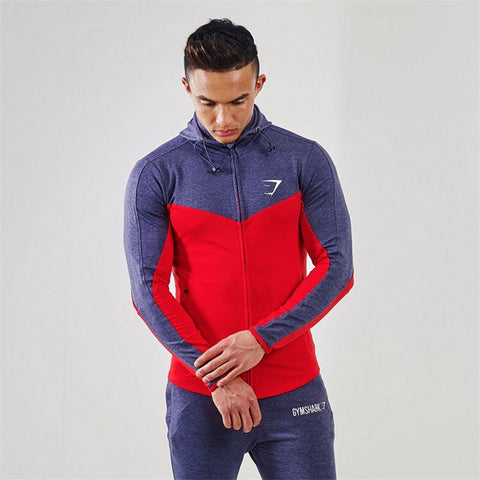 Red Gymshark Fitness Hoodies Sweatshirts Men's Sportswear