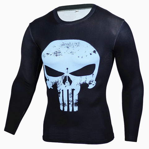 Superhero The Punisher Blue on Black 3D Compression Long Sleeves