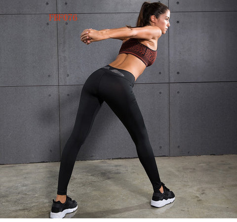 Black Quick Dry Yoga Pants with White Wings