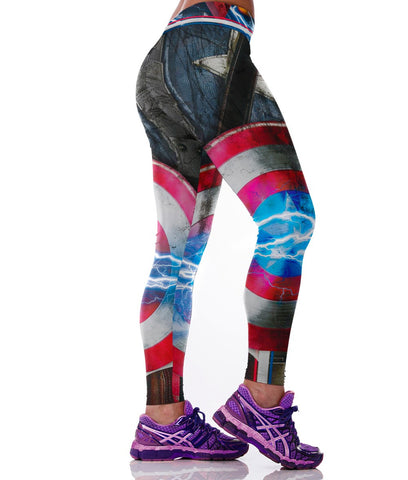 Superhero Captain America Leggings for Women