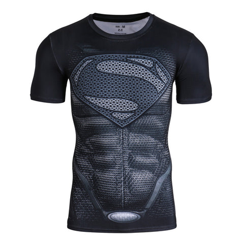 Superhero Superman's 2013-Man of Steel Black Compression Shirt