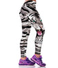 Image of Black and White Tiger Sports Leggings for Women