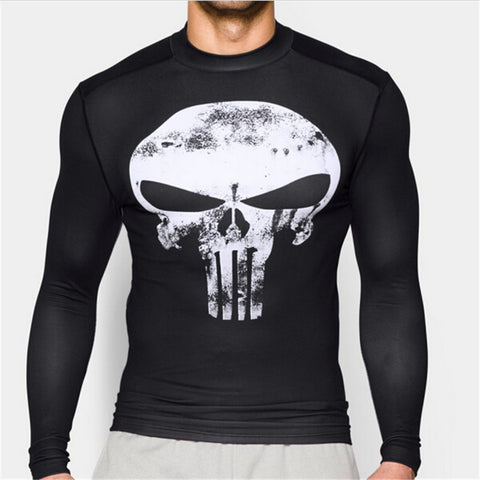 Superhero The Punisher White on Black 3D Compression Long Sleeve
