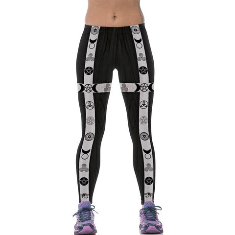 Pentacles Design Elastic Waist Leggings