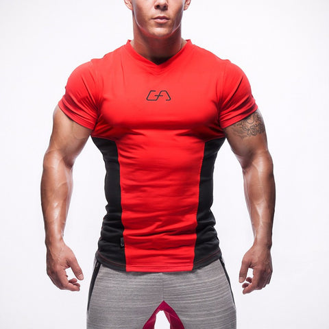 Men's Black in Red Casual Stretch Top Fitness T-shirt