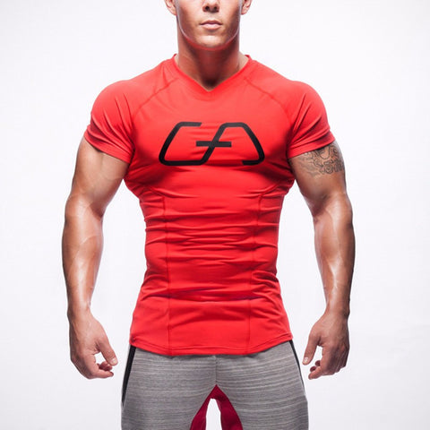 Men's Red Casual Stretch Top Fitness T-shirt