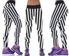 Image of Crazy Black and White Striped Leggings for Women