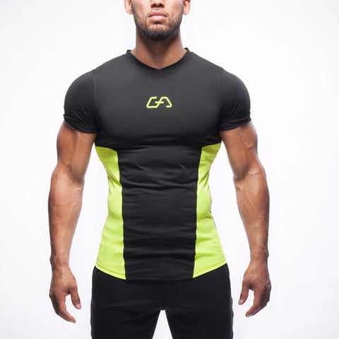 Men's Yellow in Black Casual Stretch Top Fitness T-shirt