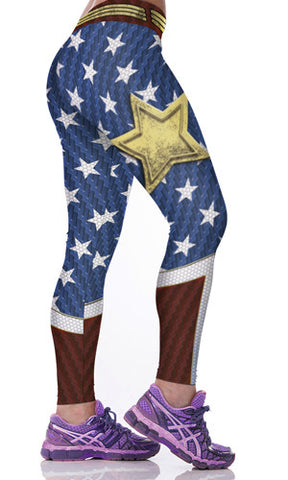 Star Spangled American Flag 3D Printed Leggings for Women