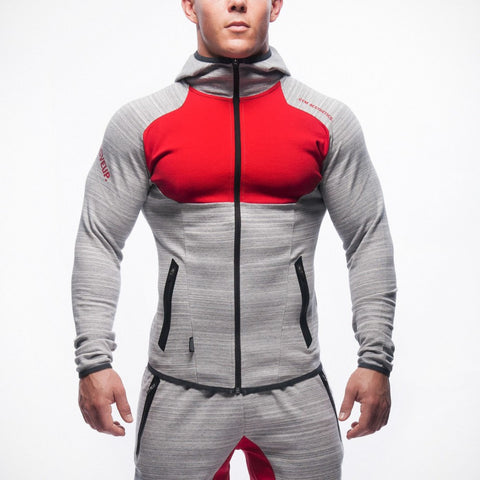Men Gym Aesthetics Cotton Hoodie Red & Gray Sweatshirts