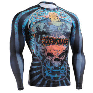 Laughing Buddha and Skull Life Track  Compression Long Sleeve