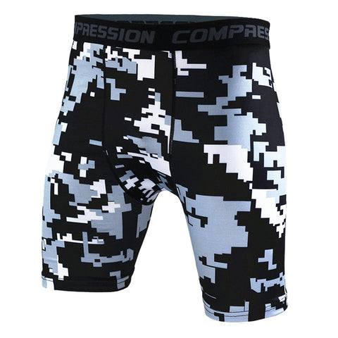 Camouflage Black, Green and Orage Compression Shorts Pants for Men