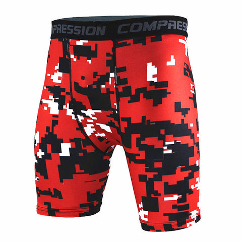 Camouflage Red,Blue and Yellow Compression Shorts Pants for Men