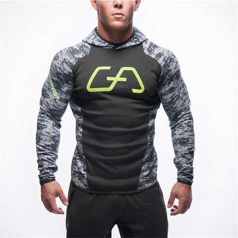 Camouflage Black Bodybuilding and fitness hoodies Sweatshirts Men's Sportswear