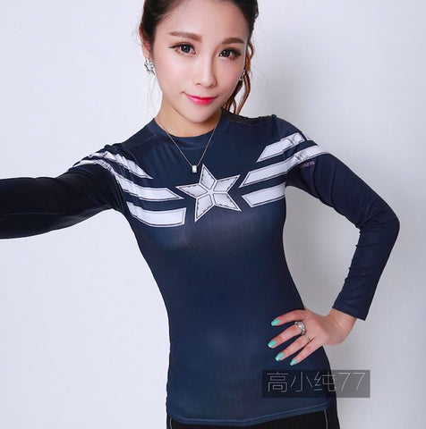 Superhero Captain America: The Winter Soldier Compression Long Sleeve Shirt for Women