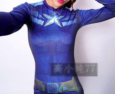 Superhero Captain America: The Winter Soldier Blue Compression Long Sleeve Shirt for Women