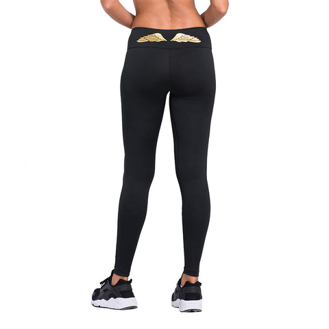 Black Quick Dry Yoga Pants with Gold Wings