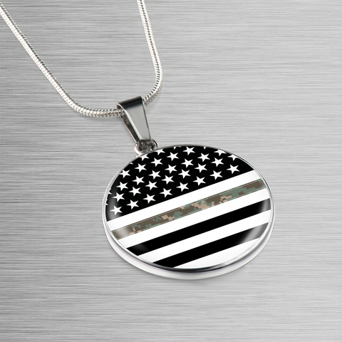 Thin Camouflage Line Circle Necklace V2