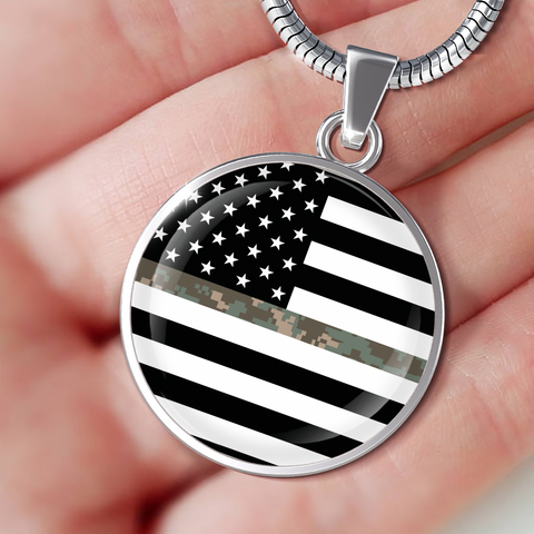 Thin Camouflage Line Circle Necklace