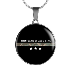 Thin Camouflage Line Circle Necklace V3