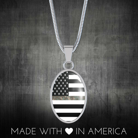 Oval Thin Camouflage Line Necklaces