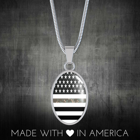 Oval Thin Camouflage Line Necklaces V2