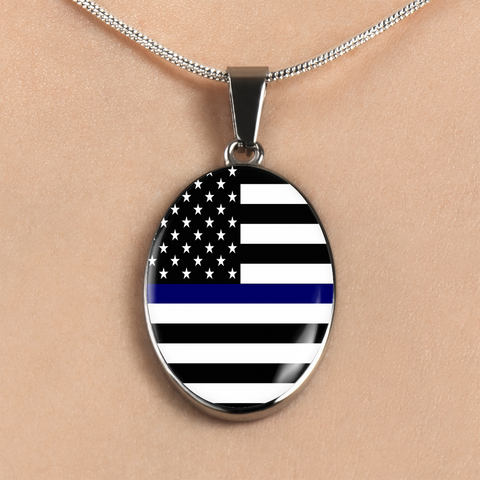 Oval Blue Line Necklaces