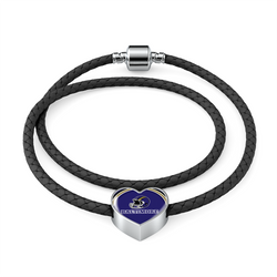Baltimore Double-Braided Real Leather Charm Heart Bracelet