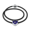 Image of Baltimore Double-Braided Real Leather Charm Heart Bracelet