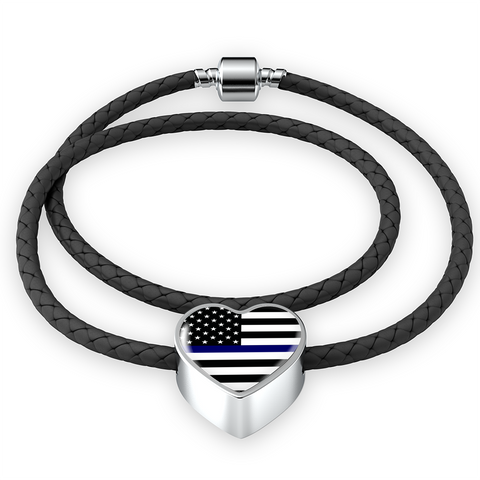 Thin Blue Line Heart Design Necklace