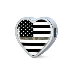 Thin Camouflage Line Heart Design Necklace