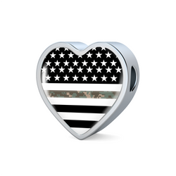 Thin Camouflage Line Heart Design Necklace V2