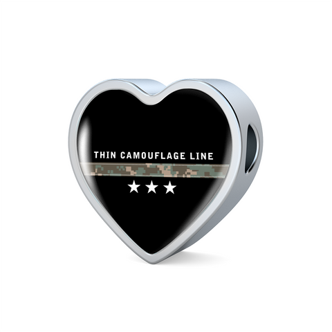 Thin Camouflage Line Heart Design Necklace V3