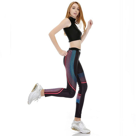 Blue Gradient Stripes Printed in Black Yoga Sport Work Out Leggings For Women