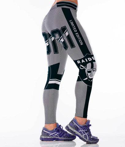 New Black Oakland Raiders Sports Leggings