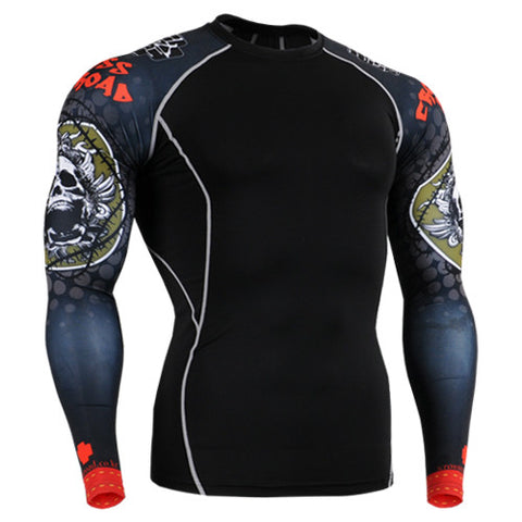 Black Skull Cross Road Life Track Compression Long Sleeve